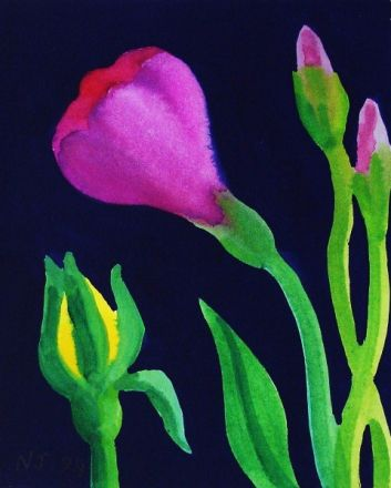 Violet Lysianthus and Yellow Rose Bud - Nerys Johnson