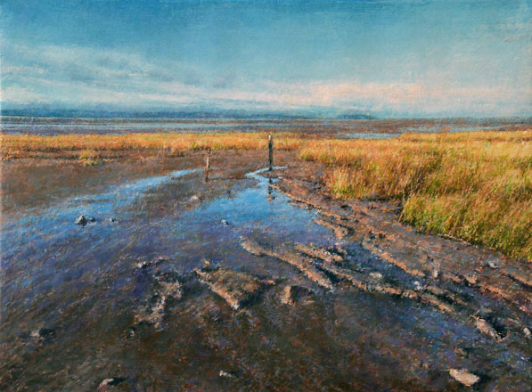 Two Posts at Low Tide - Keith Bowen