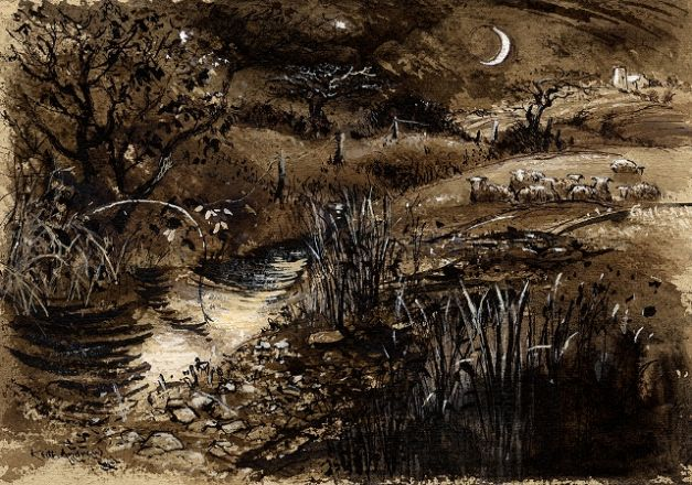 River Moon (study for etching) - Keith Andrew