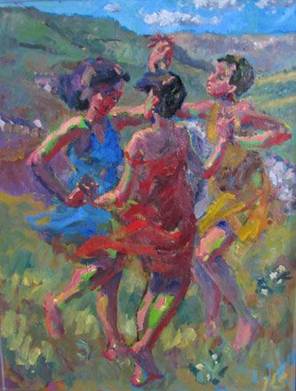 Three Graces with Primroses - Kevin Sinnott