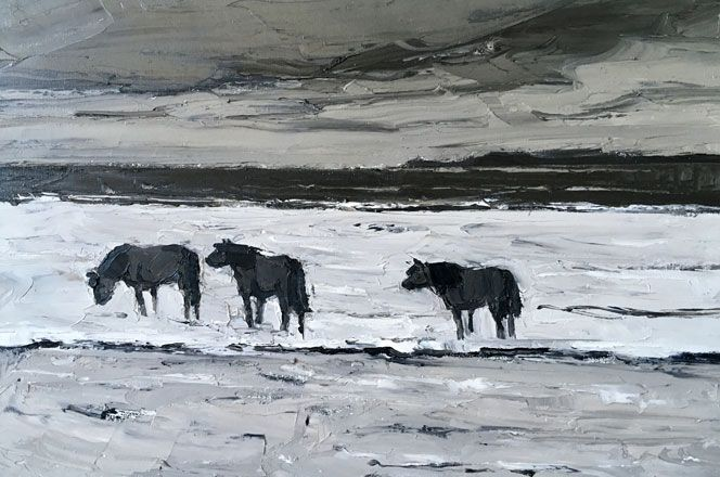 Ponies in the Sea - Kyffin Williams