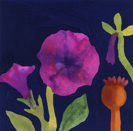 Petunias and Poppy Seed Heads - Nerys Johnson