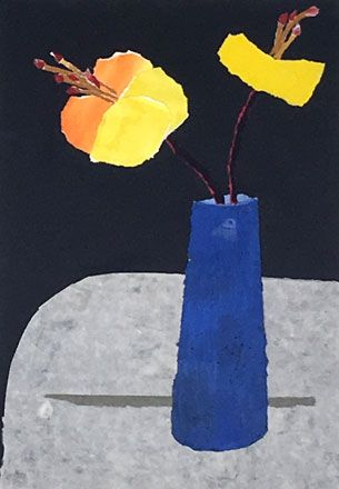 Flowers in a Blue Pot - Rosemary Burton