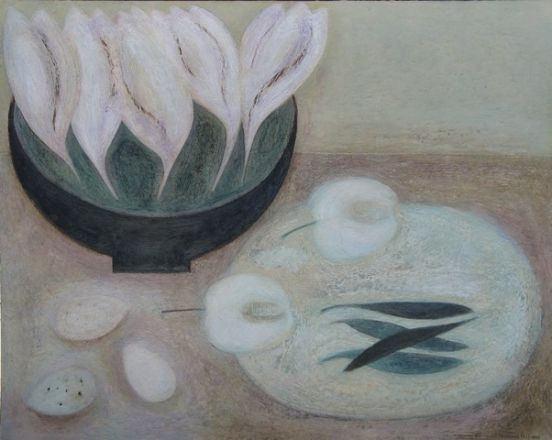 Crocus Bowl with Eggs, Apple and Peas - Vivienne Williams