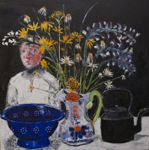 Blue Colander, Gaudy Jug and Welsh Kettle - Shani Rhys James MBE  RCA