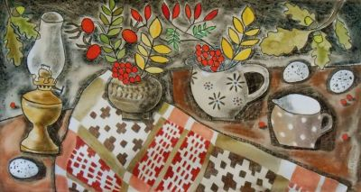 Still Life with Welsh Blanket - Susan Gathercole RCA