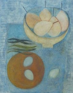 Blue Table with Pears, Beans and Eggs - Vivienne Williams RCA